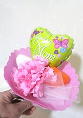 母の日-小さなハートバルーン-感謝の花束グリーン
