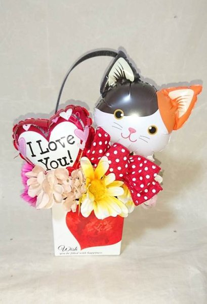 画像1: 人気の猫ギフトにゃんこバルーンでお祝いギフト・結婚式・誕生日 (ねこ風船) (1)